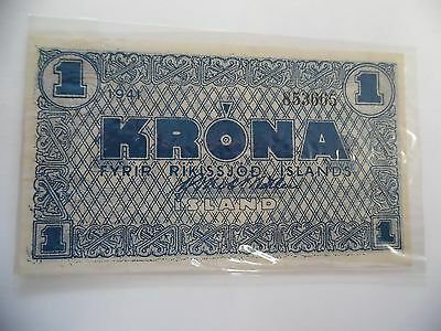 Iceland 1941 1 Krona #22 Emergency Wwii Issue - Uncirculated