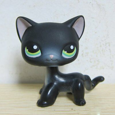 Littlest Pet Shop Animals LPS Black Short Hair Kitty Cat #336 Green Eyes Rare A1