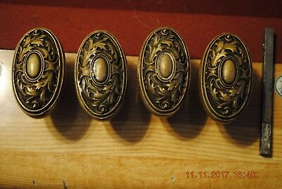 (4) Antique Ornate Door Knobs Solid Brass/Bronze Victorian
