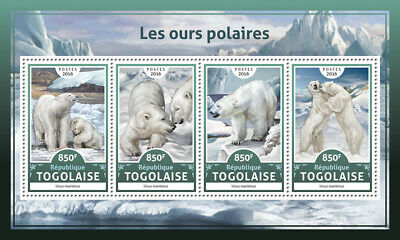 Togo 2016 MNH Polar Bears 4v M/S Polar Bear Wild Animals Stamps