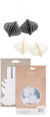 2x Paper Honeycomb Xmas Tree Hanging Decoration 3D Snowflakes Decoration- 3 Pack