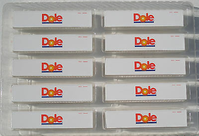 Ten 40ft Dole refrigerated containers in HO scale - new