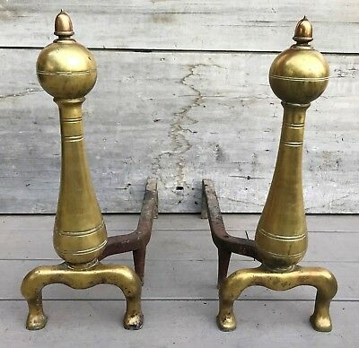 """Antique 19th c. American Ball Top Acorn Finial 20.5""""H Solid Brass Andirons 1840"""