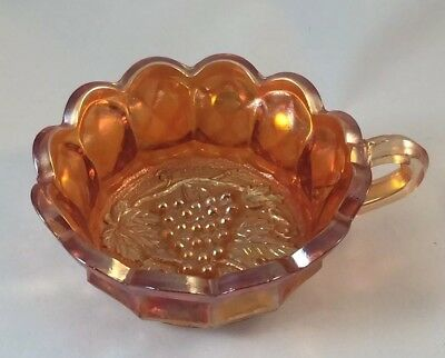 Vintage Imperial Heavy Grape Carnival Glass Handled Nappy Dish Bowl