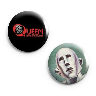 """Set of 2  Queen News of The World - 25mm (1"""") Pin Button Badges - Concert - Band"""