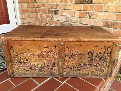 Vintage Cowboy Indian Western Toy Box Wood Frontier Chest Trunk Cabin Decor Old