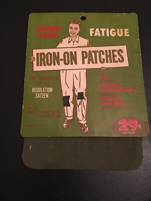 Vintage Sewing Notion New Iron-On Patches Fatigue Sturdy Pants Regulation Sateen