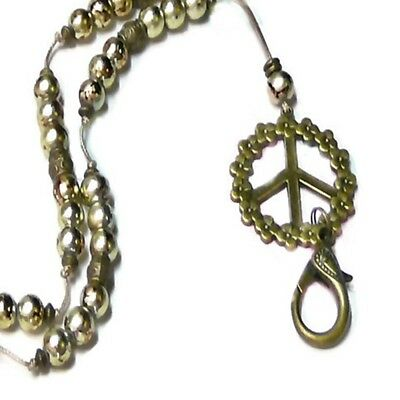 Lanyard Necklace cord keys, security work id badge Bronze Peace Sign, Gold