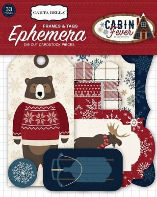 "Carta Bella ""cabin Fever"" Ephemera-Frames & Tags Die Cuts Winter Scrapjack's Pl"