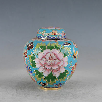 Delicate Chinese Cloisonne Hand-made Flowers Pot Zw