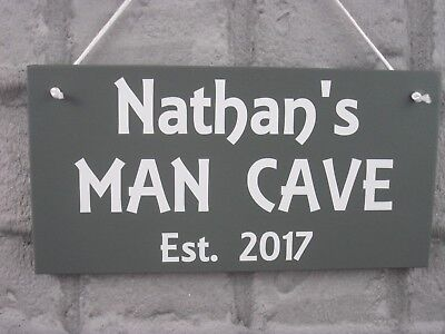 MAN CAVE Sign Personalised Wooden Plaque Name & Year