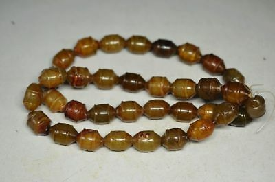 Good Chinese old jade Carved beads Hand woven Necklace v11zrf