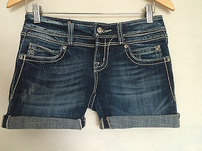 Miss Me Cut Off Jeans Shorts Sz 26 Flap Pocket Factory Distressed Womens