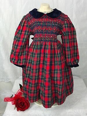 VTG Girls Sz 3T Smocked Red Plaid Dress Growing Up Lord And Taylor Modest