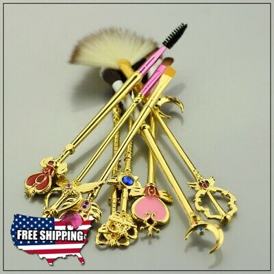 Inspired Sailor Moon Makeup Brush with Wand Jewelry head (Set of 8) Gold
