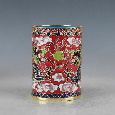 Delicate Chinese Cloisonne Hand-made Two Dragons Brush Pots Zw