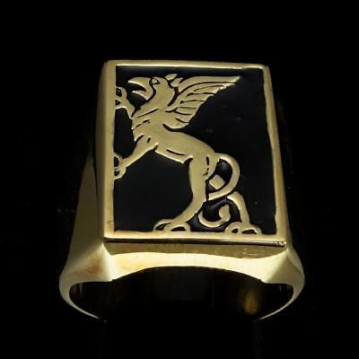 Bronze Medieval Costume Mens Ring Griffin Griffon Gryphon Black Enamel Any Size