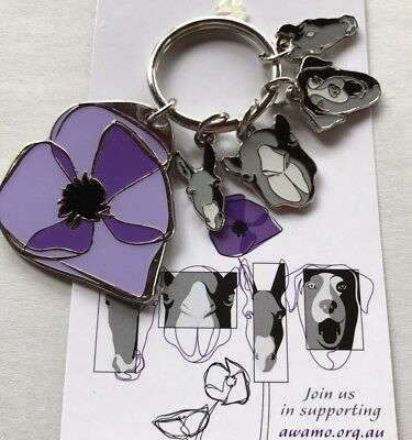 Purple Poppy Remembering All War Animals Keyring* Remembrance Day