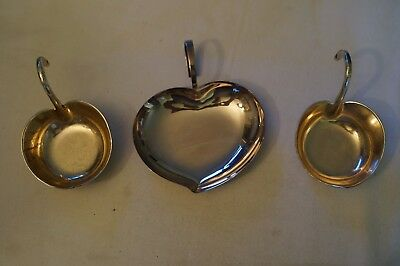 Collectable - Vintage - Silver Plated - 3 x Various Sauce and Dipping Plates