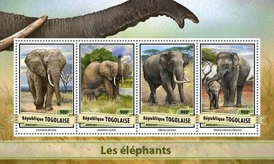 Togo 2017 MNH Elephants African Elephant 4v M/S Trees Wild Animals Stamps