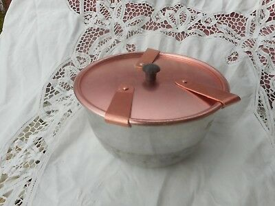 Vintage Aluminium Pudding Steamer With Pink Anodised Lid