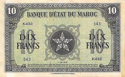 Morocco  10  Francs  1.8.1943  Series  K  Circulated Banknote N1117