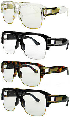 Clear frame Gazelle Style Gold Metal Accents DMC Square Clear Lens Glasses