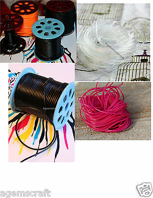 Black Clear Orange Fuchsia Hollow Silicone Rubber Jewelry Tubing Cord by meter