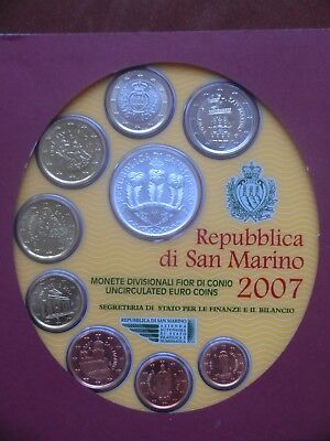 SAN MARINO Italy 9 Coin Mint Euro Set 2007 UNC KMS Free Shipping Low Price