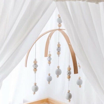 Baby Crib Mobile Bed Bell DIY Toy Holder Arm Bracket Wind-up Wooden Beads Gift
