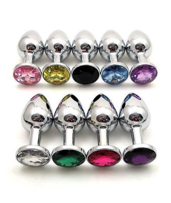 Size M Butt Toy Plug Anal Insert Stainless Steel Plated Jeweled Sexy Stoppers