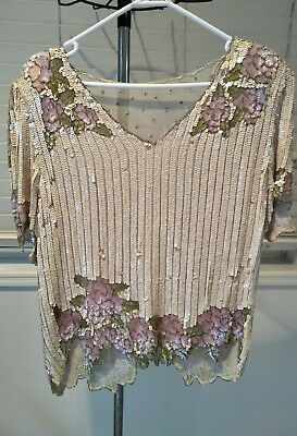 Vintage Sequin Top Apricot Very Beautiful Pink Flowers Leaves