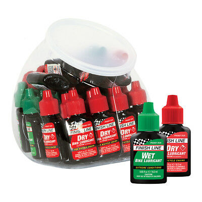 Finish Line FISH BOWL ASSORTED Bike LUBE 30 pc .65oz Dry & Wet Bicycle Lubricant