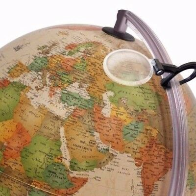 Antique-Style ILLUMINATED Globe 30cm with Magnifying Glass 'Marco Polo'
