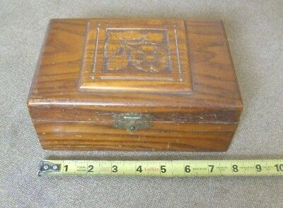 Sewing Box Jewelry Case Wooden container Flower design on lid 1920's Cloth lined