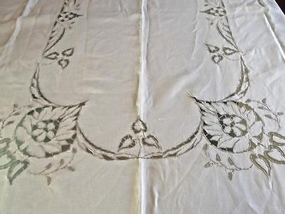 Vintage Pure Sturdy Linen 62x82 Tablecloth Ecru Hand Embroidery Richelieu Leaves