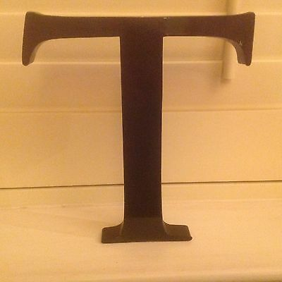 """RECLAIMED METAL SHOP LETTER .BLACK FINISH ...""""T""""  CHUNKY HEIGHT 22 cm INDUSTRIAL"""