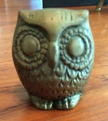 "Vintage Owl Figurine Brass 2.5"" X 2"" Cute Huge Eyes Detailed Feathers Beak And F"