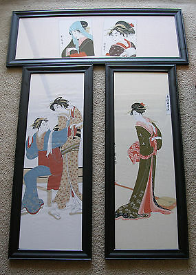 Japanese 3 Panels~Black Lacquer Framed Geisha~1 Horizontal & 2 Vertical
