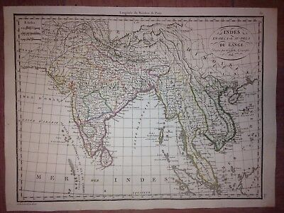 Southeast Asia &  India Dated 1816 By P. Lapie Antique Copper Engraved Map