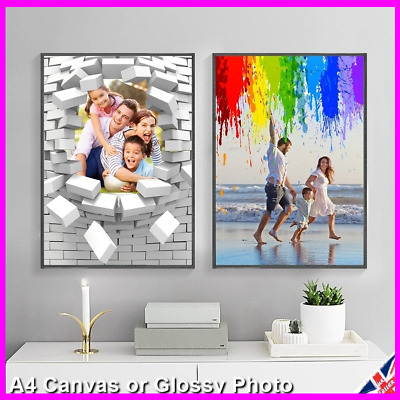PERSONALISED Photo Picture Canvas / Glossy Print Sheet Poster Wall Frame Custom