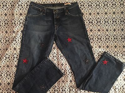 Levi's Vintage Jeans Red Tab SF CA,Rare, Size 28 Jr, Custom Made, Red Blue Stars