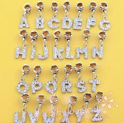 Alloy Bead Charm European Letter Of Alphabet Fashion Bracelets Jewelry JWBD042