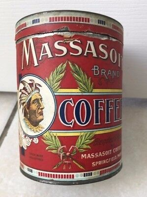 Coffee Advertising Tin Old Vintage Massasoit Indian Native American Sign Graphic