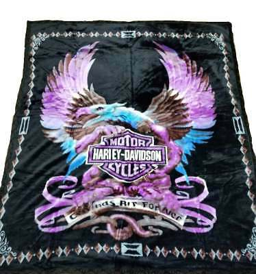 Harley Davidson Blanket NEW Mink Queen Size Double Side Plush Reversible Purple