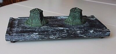 Grand encrier double bronze socle en marbre ART DECO INKWELL