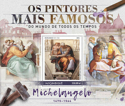 Mozambique 2016 MNH Michelangelo Famous Painters 1v S/S Paintings Art Stamps