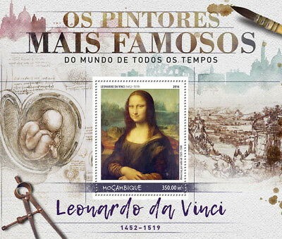 Mozambique 2016 MNH Leonardo Da Vinci Mona Lisa 1v S/S Paintings Art Stamps