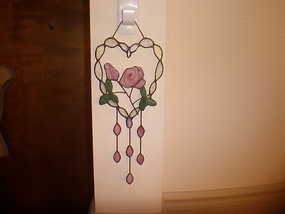 Stained Glass Pink/Green Heart Shape Wall/Window Hanging
