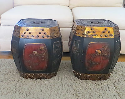 Antique Pair of Matching Chinese Decorated Octagonal Lidded Boxes